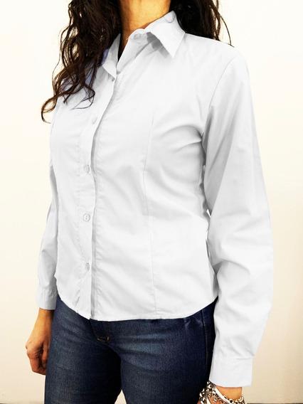Camisa Batista Mangas Largas Blanca Talles Grandes