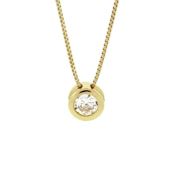 Ponto De Luz Em Ouro Amarelo 18k E Diamantes (0,20cts). Códi