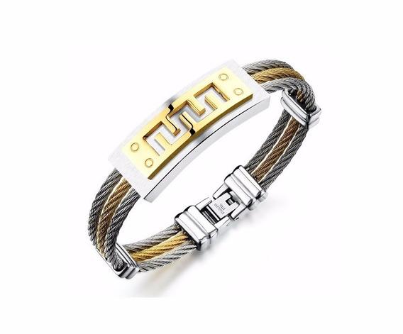 Pulseira Masculina Bracelete Aço Inox Banhado Ouro 18k P10