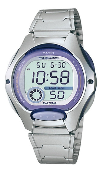 Relógio Casio Feminino Lw 200 Lilás Aço Prova Dágua 50 Mtrs