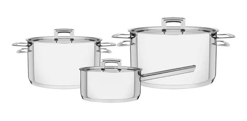 Bateria De Cocina 3 Pzs Set De Ollas Tramontina Linea Brava