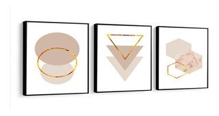 Quadro Decorativo Abstrato Tons Bege Dourado Sala Casa 58x58