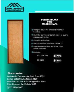 Puerta Placa Pino Marco Chapa 80x200