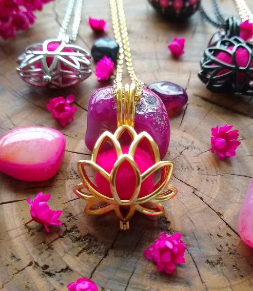 Colar Difusor Aromático Aço Inox Flor De Lótus Dourado