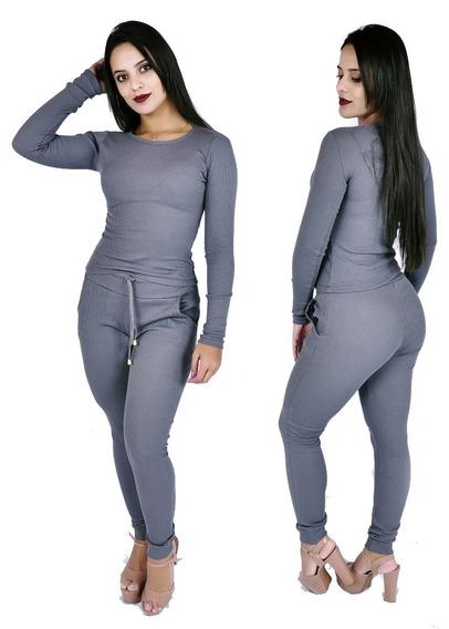 Kit 10 Conjunto Feminino Calça E Blusa Ribana Canelada Frio