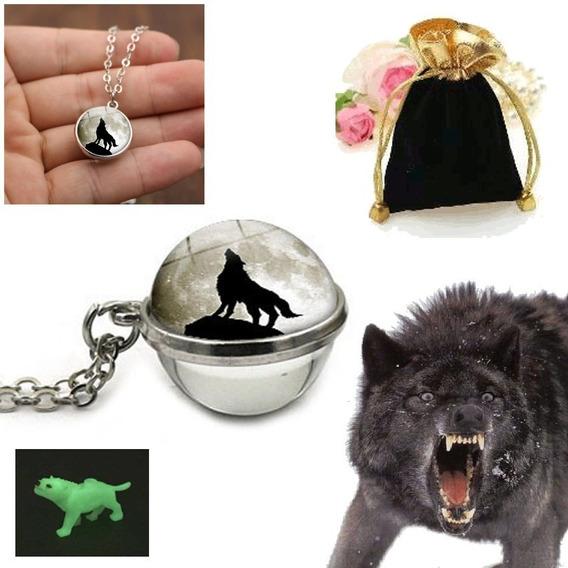 Colar Pingente Esfera Lobo Na Lua Noite Wolf Moon Ball + Miniatura Lobo Glow + Saquinho Veludo Brindes