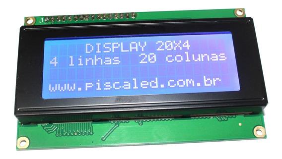 Display Lcd 20x4 20x04 2004 Fundo Azul Tela Para Arduino