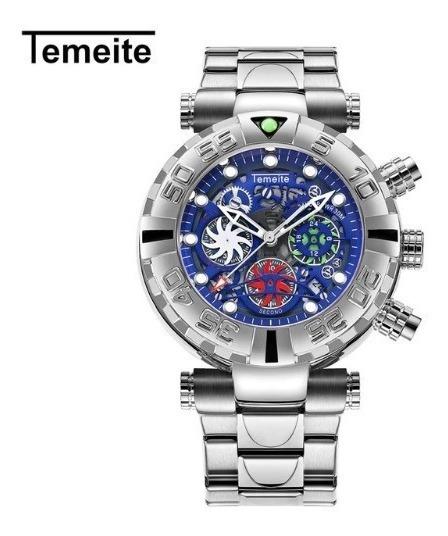 Relógio Azul Pulso Masculino Quartzo Temeite Luxo + Promoção