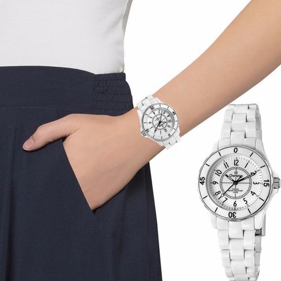 Relógio Champion Feminino Branco Acrílico Original Cp28159b