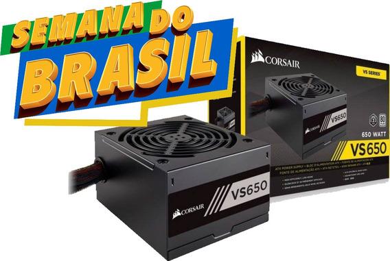 Fonte Gamer Corsair Vs650 650w Reais 80plus Pfc Ativo Nova