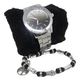 Relógio Feminino Prata Inox + Pulseira Kit