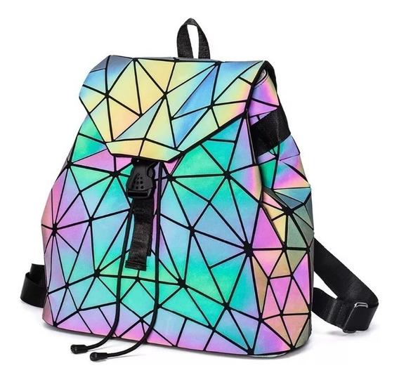 Mochila Bolsa Geométrica Fluorescente Luminosa Tornasol