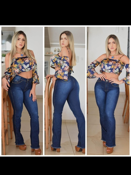 Calça Femininas Jeans Flare Linha Luxo Barata Levanta Bumbum