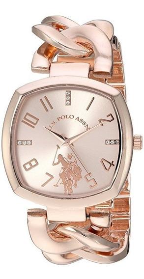 Reloj De Mujer Polo Modelo Usc40251az Cadena Oro Rosa