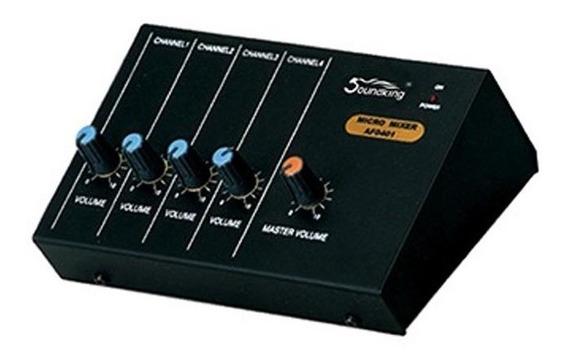 Mini Mixer Soundking Af 0401 Com 4 Canais