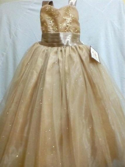 Vestido Presentación Gala Dorado Niña