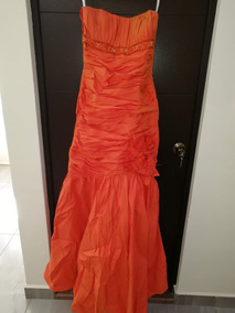 Vestido De Fiesta Alta Costura Color Naranja (oferta)