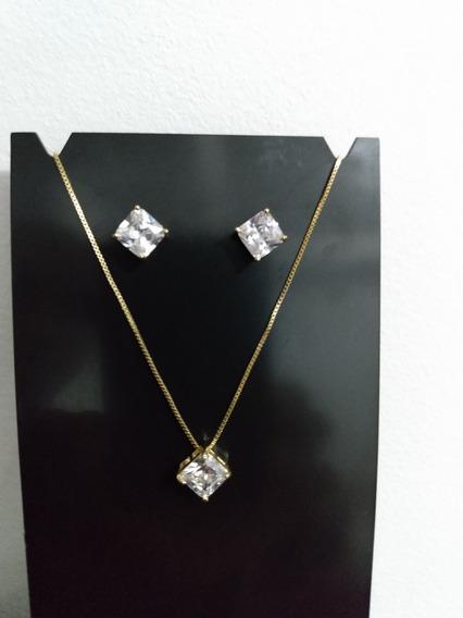 Conjunto Colar Brinco Quadrado Pedra Fusion Foheado Ouro Zircônio Liga De Zinco Com Pedras