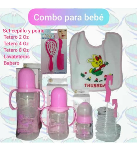 Set 3 Teteros Bebe + Cepillo Y Peine, Oferta, Regalo..