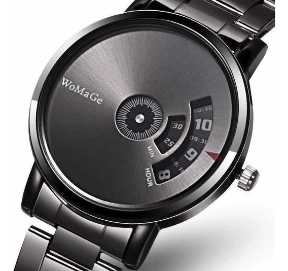Relógio Masculino Luxo Preto Em Aço Executivo