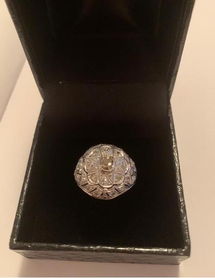 Anel Antigo Platina Diamantes 1930 Diamante Brown Único!!