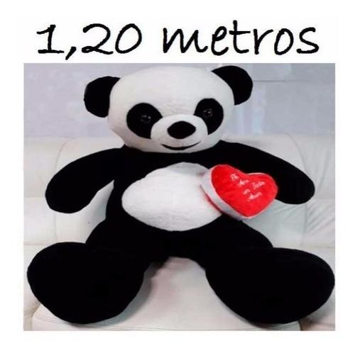 Imagem 1 de 8 de Urso Pelúcia Gigante Panda 120 Cm 1,20 M Romântico + Coração