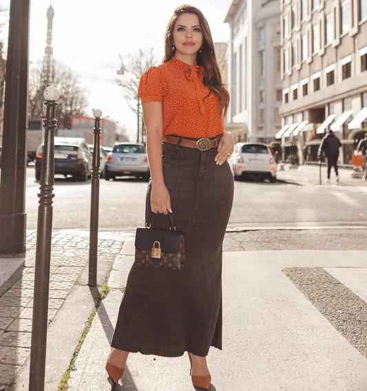 Saia Feminina Jeans Longa Joyaly Destroyed Recortes Decente