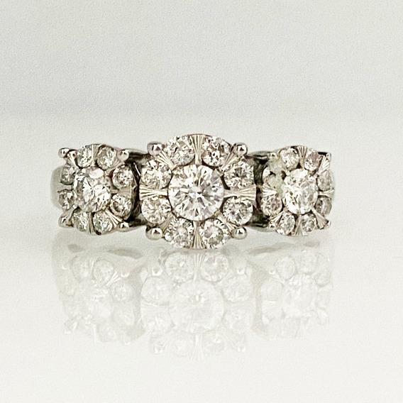 Anillo En Oro Blanco 14k Con Diamantes Corte Antiguo Genuino