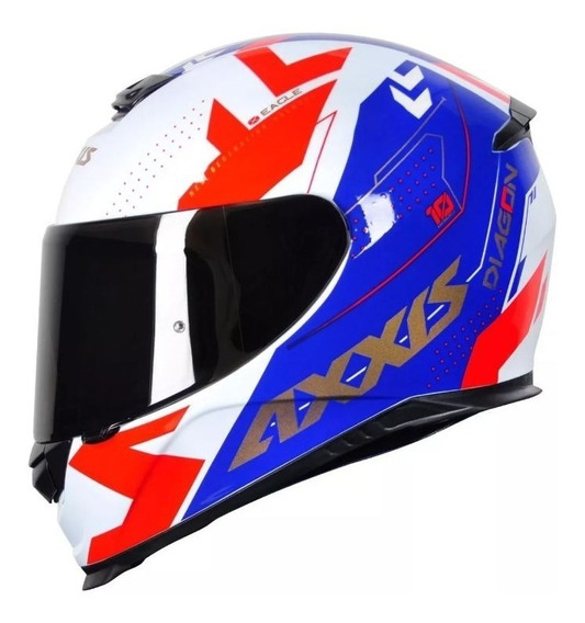 Capacete Moto Axxis / Mt Diagon - White Blue Red