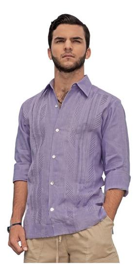 Camisa Guayabera Hombre 100% Algodón Manga Larga G001