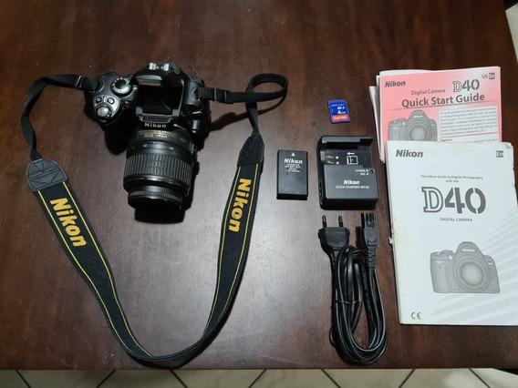 Camera Nikon D40+carregador+bateria+cartão 4gb