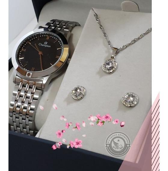 Relógio Champion Glamour Prata Original +semi Joias Ch21985d