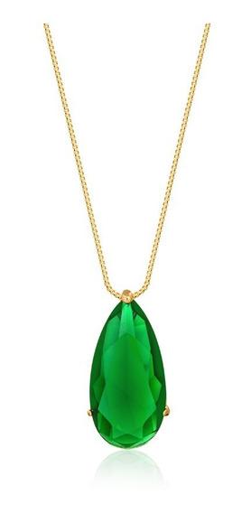 Colar Pedra Fusion Verde Folheado Banhado À Ouro 18k -
