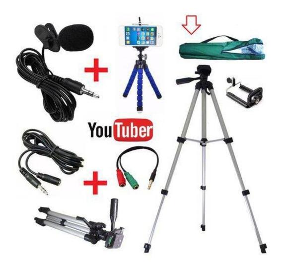 Kit Youtuber Profissional Tripé 1,20m + Microfone De Lapela