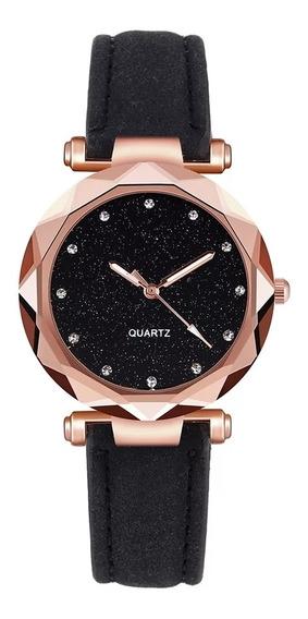 Relógio Feminino Brilhante Preto