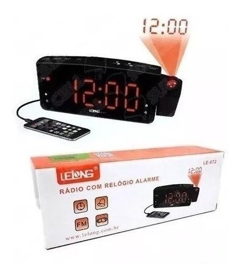 Relógio Rádio Projetor De Horas Despertador Lelong Fm Usb