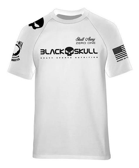 3x Camiseta Original Dry Fit Branca - Black Skull - Nova