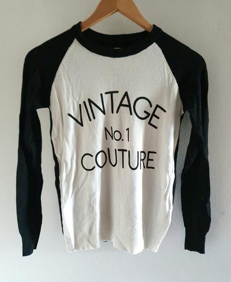 Sweater De Algodón Y Lycra Importado Con Inscripciones