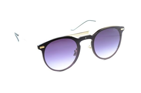 Óculos De Sol Feminino Redondo Dourado Lente Degrade Escuro