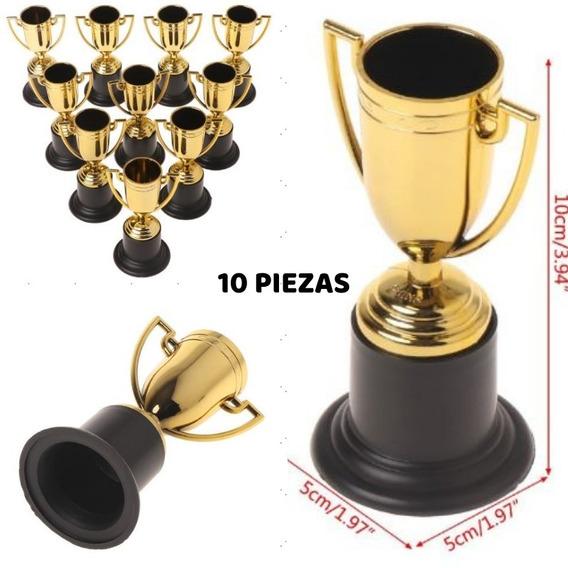 10 Trofeos Copas Premio Estatuilla Dorada 10cm Fiesta Futbol