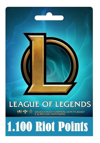 Cartão League Of Legends Lol - 1100 Riot Points Rp Br Brasil