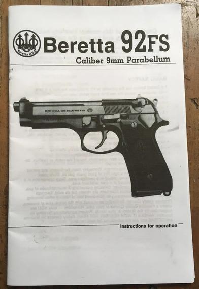 Manual En Inglés Pistola Beretta 92fs Cal. 9mm 22 Pág. Año90