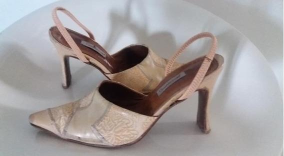 Zapato #36 De Cuero Color Salmón Y Durazno Suave