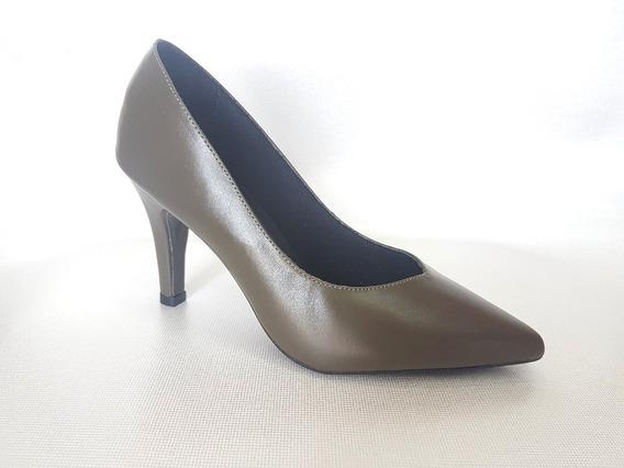 Sapato Feminino Scarpin Couro Legítimo Salto 8 Inverno Chic