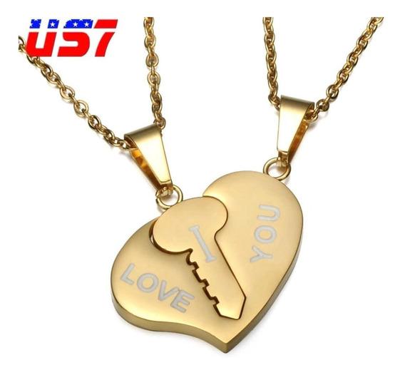 Cordão Colar Corrente Coração Cadeado Chave I Love You