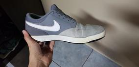 Tênis Nike Cinza Em Couro E Camurça