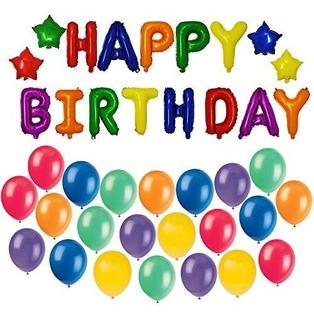 Herofiber Foil Balloon Carta De Feliz Cumpleaños + 20 Globos