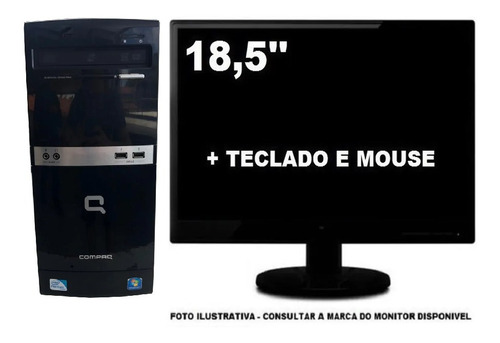 Imagem 1 de 4 de Computador Hp Compaq Dualcore 4gb Ddr3 320gb Mon 18,5