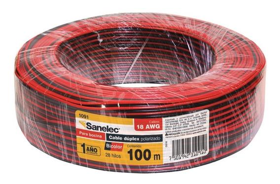 Cable Para Bocina 18awg Bicolor Negro Rojo Sanelec