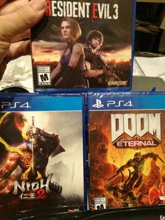 Combo Juegos Doom, Resident Evil 3 Y Ni-ho 2 Fisicos Xstatio